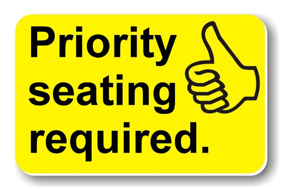 Priority seating required card