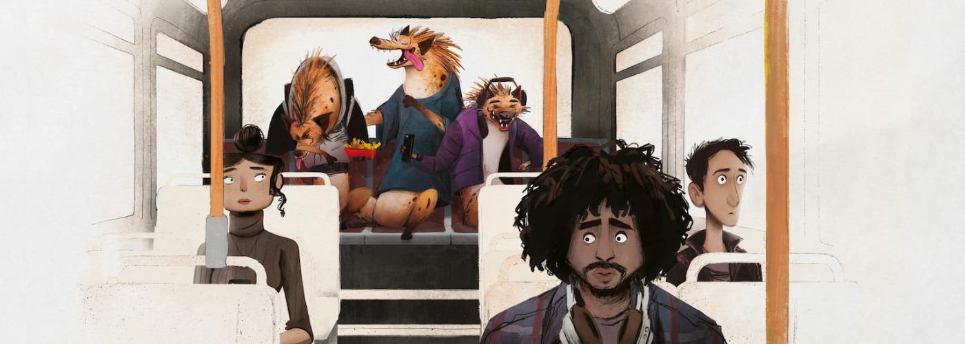 Animated image of passenger sitting on bus with hyenas sitting on back seat